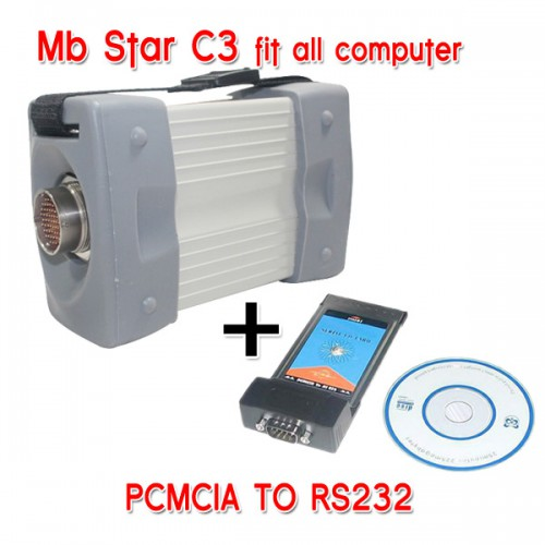 Mb Star C3 Pro work with Benz Truck and Cars Plus PCMCIA TO RS232
