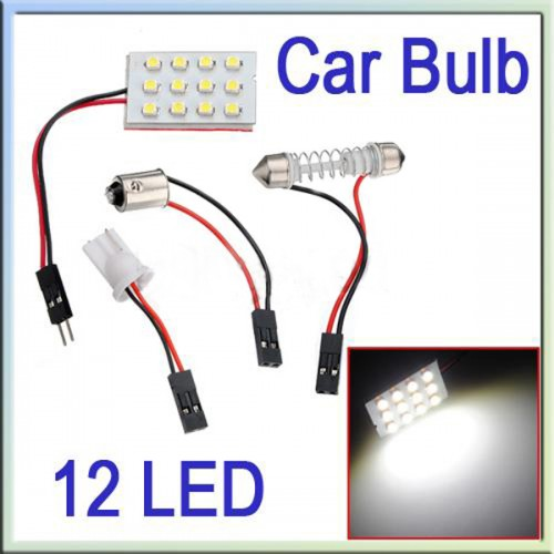 T10 BA9S 12 LED SMD Pure White Interior Room Dome Door Car Light Panel Lamp Bulb 5pcs/lot