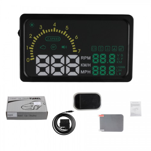 "Nuovo  6"" LED OBD-II HUD Head Up Display Over Speeding Warning/ Speed/ Km rpm/ Shift Light/ Temperature+Tire Indicator I5"