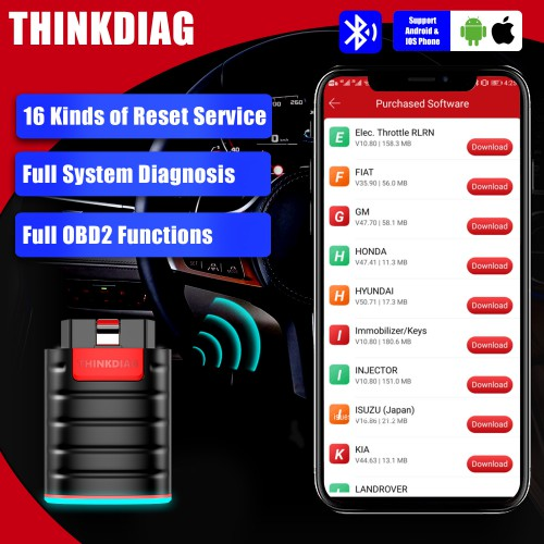Launch Thinkdiag OBD2 con EOBD + DEMO + Ricerca Automatica + 1 Software Gratuito Supporta Italiano