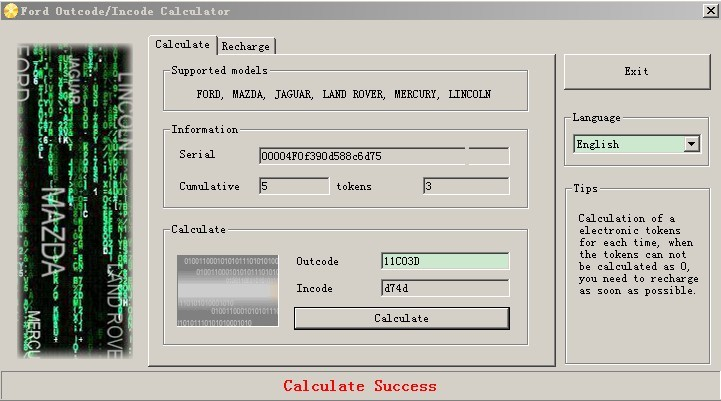 Ford Outcode/Incode Calculator Software Display-01