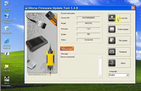 TOYOTA MINI VCI software display